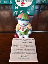 1998 Sarah's Attic Snowonders September Snowman Figurine Math Book Apple Newton