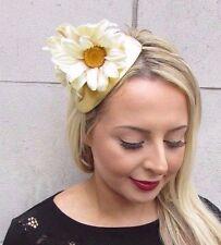 Cream Gold Large Daisy Flower Fascinator Hair Headband Races Wedding Vtg 3509