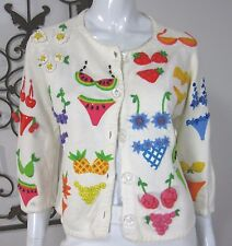 MICHAEL SIMON NEW YORK LONG SLEEVE CARDIGAN SWEATER SIZE M, WHITE