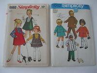 Lot of 2  VTG Simplicity Children's Sewing Patterns, Size 2   UNCUT