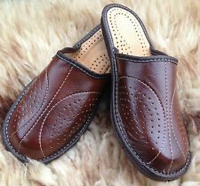 Men's Dark Brown Leather Slippers Slip on Shoes Size UK 9 Hard Sole Mules