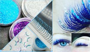 EyeLashAmore individual eyelash extensions glitter eyelashes UK Blue Silver Pink