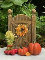 Miniature Dollhouse FAIRY GARDEN ~ Mini Fall HALLOWEEN Door w Straw & Pumpkins