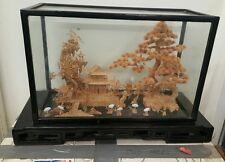 Asian Oriental Chinese Lacquer HUGE Cork Art Sculpture With  Glass Diorama