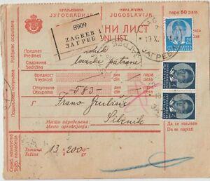 1939 Yugoslavia parcel bulletin franked from Zagreb to Sibenik