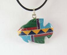 Block Stone Fish Pendant Necklace .925 Sterling Silver Southwest Design