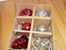 Pottery Barn Mercury Glass Ornaments Red and Silver Set of 6