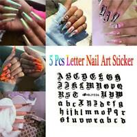 5Sheets Nail Art Transfer Decal 3D English Letter Decor Alphabet DIY Stickers