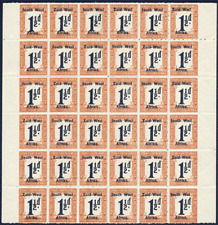 """SOUTH WEST AFRICA 1923 POSTAGE DUE 1½D BLOCK OF 36 CONTAINING """"WES"""" ERROR VFUM"""