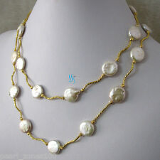 """Pearl Necklace Tube G Ac 35"""" 13-14mm White Coin Freshwater"""