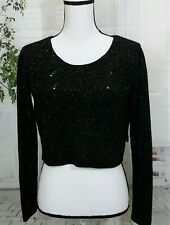 Body Central sweater women's size small black cropped shimmer scoop neck LS