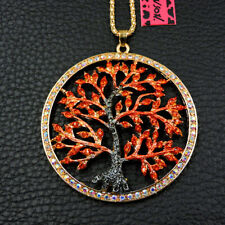 New Betsey Johnson Red Crystal Cute Hope Tree Enamel Necklace Sweater Chain