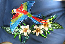 Parrot in the Tropics Metal & Glass Wall Art Home Decor