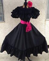 Mexican Fiesta,5 De Mayo,Wedding Black Dress 2 Piece w/Small Pink Sash