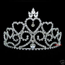 8.5cm High Heart Wedding Bridal Bridesmaid Prom Party Crystal Tiara