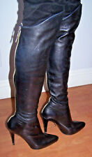 Sexy AdR Anna Dello Russo H&M Blk Leather OTK Stiletto Heel Knee Hi Boots 9/40