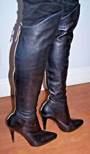 Sexy AdR Anna Dello Russo H&M Leather Blk OTK Stiletto Heel Knee Hi Boots 9/40