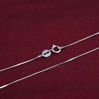 """Amazing Real 18k White Gold 17.7"""" Necklace Women Pretty 0.7mm Box Link Chain 1g"""