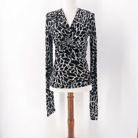 Vintage Early 2000's Robert Cavalli Animal Print Top Blouse Sz L Made in Italy