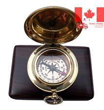 MAH Brass Push Button Engravable Direction Pocket Compass C-3191