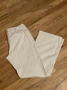 Ann Taylor pants seersucker size 6 wide legs Khaki White Stripe EUC