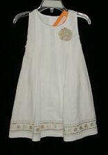 NWT Gymboree Girls JUMP INTO SUMMER White With Gold Flower & Trim Dress Size 2T