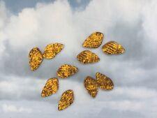10 Resin Glitter Shells Gold Cabochon Flat Back Scrapbooking Embellishment