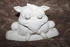 READY 2 PAINT OR GLAZE CERAMIC WHITE BISQUE 2 PIGS WITH HEART NOWEL'S MOLD