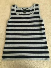 Womens size Med blue & gray striped tank top work & casual 90th & Madison ladies