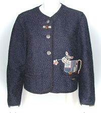GIESSWEIN Austria - Blue wool & cotton cute cow patchwork cardigan sweater - 36