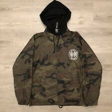 Independent Truck Company Mens Camo Jacket Black Hood Snap Button Size Small
