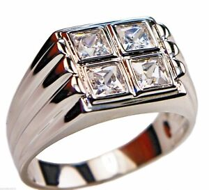 Mens 4.8 carat Four Stone Square cz ring stainless steel size 9 TK488 T43