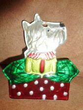 Christmas Ornament Dog Schnauzer White Terrier Flat Solid Glass Painted Pet Rare