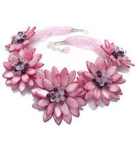 Madre de Perla Collar De Piedras Preciosas Rosa Flor Diseño dramático
