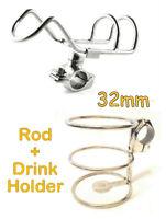 STAINLESS STEEL ROD HOLDER + DRINK HOLDER FISHING BOAT RAIL MOUNT ADJUSTABLE