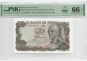 1970 SPAIN 100 PESETAS **MADRID**  PMG66 EPQ GEM UNC 【P-152a】