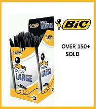 BIC 10 x Cristal 1.6mm Large BLACK Bold Line Pens - FREE 1st CLASS POSTAGE