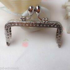 Pd: 1 Taschenbügel Silberfarbe mit Löchern im Rahmen Clip Verschluss 8.5cm