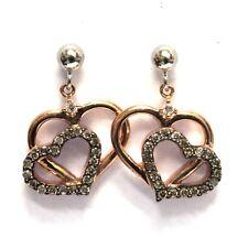 10k white rose gold .25ct SI2 H diamond dangle champagne heart earrings 2.4g