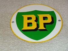 "VINTAGE BP BRITISH PETROLEUM 6"" PORCELAIN METAL CAR, TRUCK, GASOLINE & OIL SIGN!"