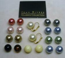 NEW JOAN RIVERS GOLD EP INTERCHANGEABLE MULTI COLOR PEARL LEVER BACK EARRING C
