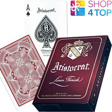 ARISTOCRAT VINTAGE PLAYING CARDS RED DECK STANDARD INDEX LINEN FINISH NEW