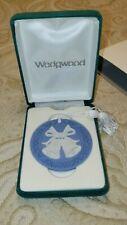 1991 Wedgwood Blue Jasperware Bells Annual Christmas Ornament Round Disc