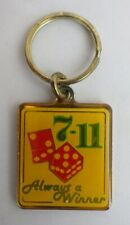 "Vintage 7-11 Casino Craps Gambling "" Always a Winner "" Gold Tone Key Chain"