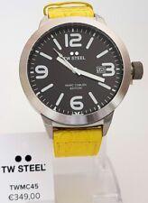 TW Steel Armbanduhr Herrenuhr big XXL Ø 50 mm Uhr schwarz Lederband gelb NEU 12