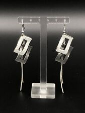 Fashion Statement Silver Plated Sparkling Glitter Squares Dangling Earrings
