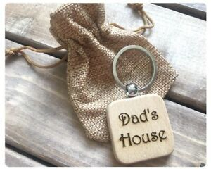 Fathers Day Personalised Eco Wood Keyring Keychain Gift Present Dad
