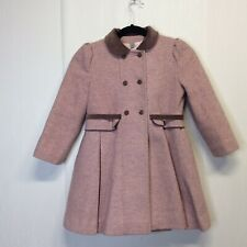 Tailored Rothschild girl pink Brown trim Over coat Euc 6X
