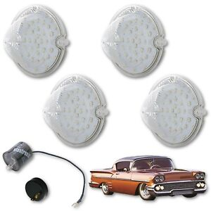 1958 Chevy Impala Bel Air Biscayne LED Clear Park Light Lens & Flasher Set of 4