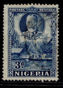 NIGERIA GVI SG38a, 3d blue, FINE USED. Cat £24. PERF 12½ X 13½